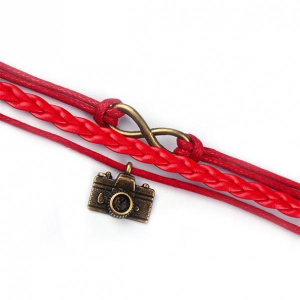 Браслет  бесконечность, в стиле ретро, красная нить, шамбала, оберег