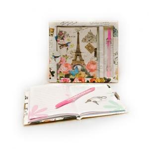 Блокнот «Париж», подарочный стильный, тайник, с ручкой, с замочком