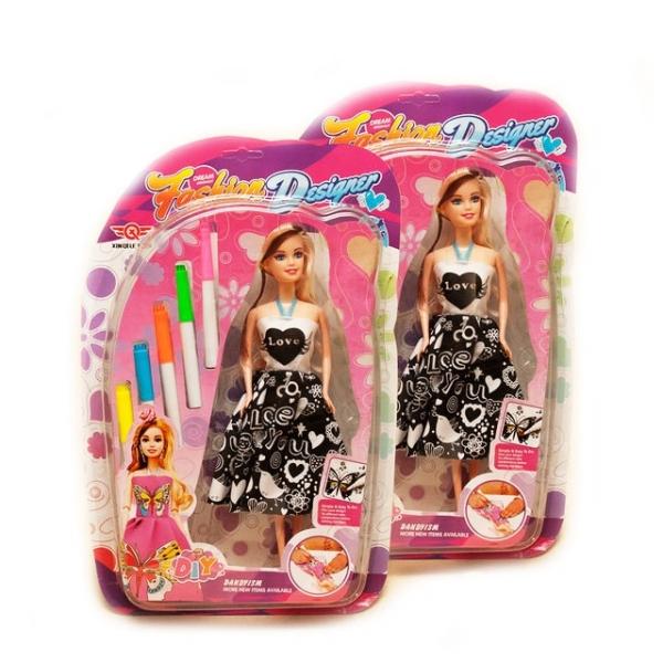 Кукла «Дизайнер» с фломастерами в подарочном наборе