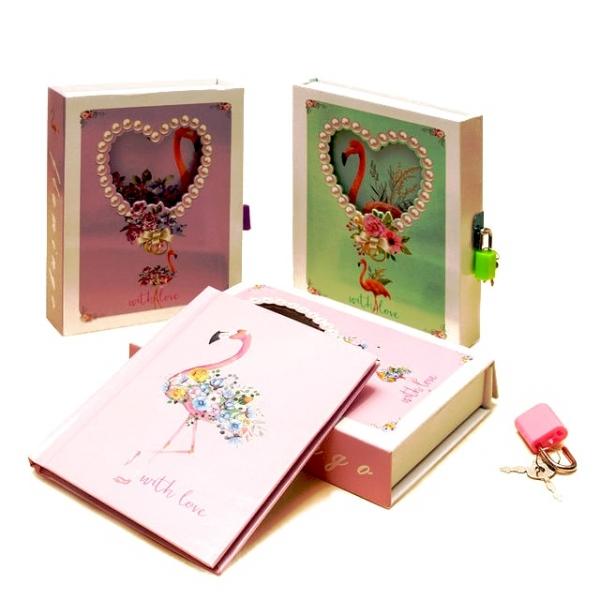 Блокнот подарочный на замочке с ключиком для тайн Фламинго